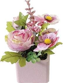 Flori artificiale roz in ghiveci patrat cm 8 x 8 x 15 H