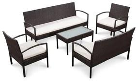 44184 vidaXL Set mobilier de grădină cu perne, 5 piese, maro, poliratan
