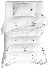 Lenjerie de pat din bumbac ranforce pentru pat de o persoană Mijolnir Eles White, 140 x 200 cm