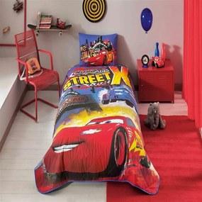 Set cuvertură și față de pernă din bumbac Disney Cars Nitroade, 160 x 220 cm