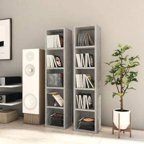 802700 vidaXL Dulapuri CD-uri, 2 buc., gri beton, 21 x 16 x 93,5 cm, PAL