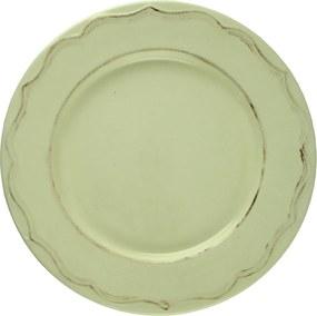 Farfurie intinsa Vintage din ceramica crem 26 cm