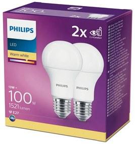 SET 2x Bec LED Philips A60 E27/13W/230V 2700K