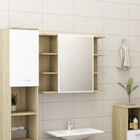 802611 vidaXL Dulap baie cu oglindă, alb/stejar Sonoma, 80 x 20,5 x 64 cm PAL