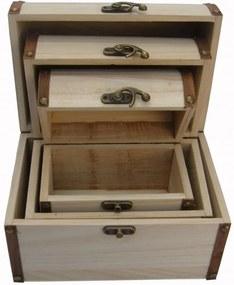 Set cutii lemn - cufar cu armatura laterala