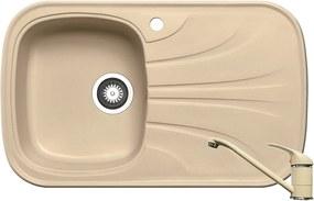 Chiuveta de bucatarie Pyramis Saria 1B 1D ST, 82 cm, compozit, beige + baterie bucatarie cadou
