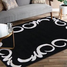Covor negru cu ornament alb Lăţime: 80 cm   Lungime: 150 cm