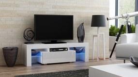 Mazzoni Masă RTV MILANO 130 + LED albă, cu sertar alb