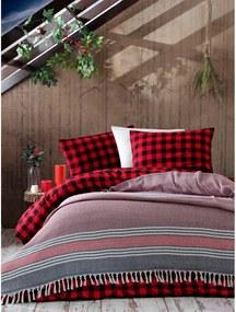 Cuvertură din bumbac pentru pat EnLora Home Anna Yatak Örtüsü, 220 x 240 cm, roșu