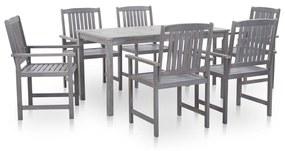 45941 vidaXL Set mobilier de exterior 7 piese, gri prespălat, lemn de acacia