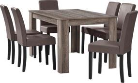 [en.casa]® Masa eleganta Bianca, MDF efect stejar - maro inchis, 140 x 90 cm - cu 6 scaune imitatie de piele, maro, cu picioare negre