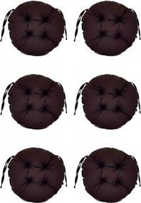 Set Perne decorative rotunde, pentru scaun de bucatarie sau terasa, diametrul 35cm, culoare negru, 6 buc/set