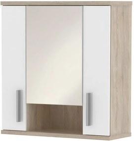 Dulap superior cu oglindă, semi strălucire albă/stejar sonoma, LESSY LI 01