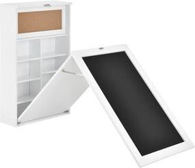 Masa birou Flavia,156 x 50 x 91,5 cm, MDF, alb, rabatabila, cu tabla integrata pentru scris si compartimente depozitare, economie spatiu