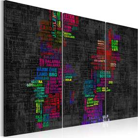 Bimago Tablou - Map of Sweden (colored names of cities) - triptych 60x40 cm