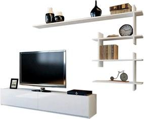 Set comodă TV și raft de perete Woody Fashion Ahenk, alb