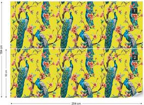 Fototapet GLIX - Vintage Peacock Pattern Yellow + adeziv GRATUIT Tapet nețesute - 254x184 cm