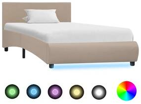 285499 vidaXL Cadru de pat cu LED, cappuccino, 100 x 200 cm, piele ecologică