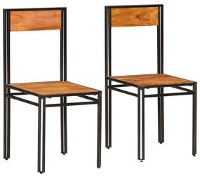 246353 vidaXL Scaune de bucătărie, 2 buc., lemn masiv de acacia