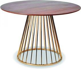 Masa Rotunda din MDF si Metal Auriu ROMANE 110cm OPJET PARIS - MDF Natur Lungime (110cm) x Inaltime (75cm)