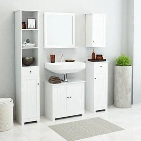 Set mobilier pentru baie 5 piese, Alb