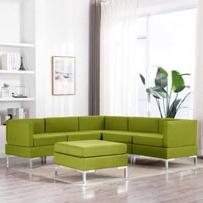 3052784 vidaXL Set canapea, 6 piese, verde, material textil