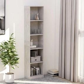 800850 vidaXL Bibliotecă cu 5 rafturi, gri, 40 x 24 x 175 cm, PAL