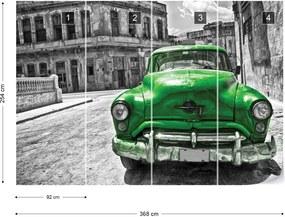 Fototapet GLIX - Vintage Car Cuba Havana Green + adeziv GRATUIT Papírová tapeta  - 368x254 cm