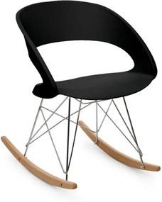 OneConcept Travolta Scaun balansoar Retro-Look | PP shell cu deschidere in spate Skiduri din lemn de mesteacan si cadru solid din oțel cromat negru