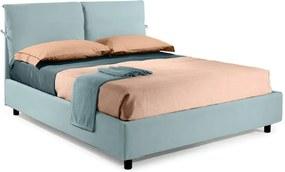 Pat Dormitor Matrimonial Bed&Sofa Fiocco iSomn 160x200 cm, lada de depozitare, stofa, turquoise