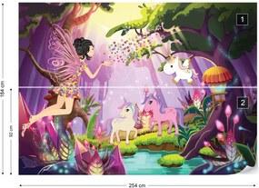 Fototapet GLIX - Unicorns And Fairies In The Forest + adeziv GRATUIT Tapet nețesute - 254x184 cm