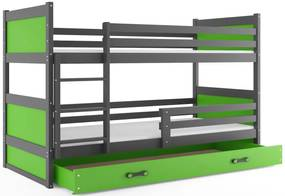 Expedo Pat supraetajat FIONA 2 COLOR + SD + saltea + somieră GRATIS, 80x190 cm, grafit, verde