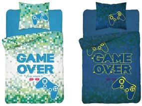 Lenjerie de pat strălucitoare GAME OVER verde