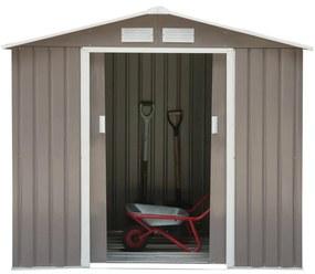 Outsunny Cabina Casuta de Gradina Pentru Ustensile in Lamiera din Fier Gri 213x127x185cm