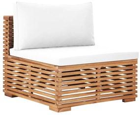 49374 vidaXL Canapea de mijloc de grădină cu perne crem, lemn masiv de tec