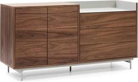 Bufet inferior maro/gri din lemn de nuc si metal 150 cm Valley Teulat