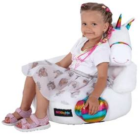 Fotoliu tip sac unicorn alb/roz/amestec de culori BUFEL