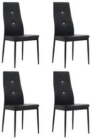 246188 vidaXL Scaune de bucătărie, 4 buc., negru, piele ecologică