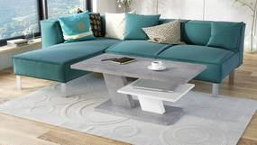 CLIFF MAT beton + alb mat, masuta de cafea