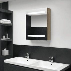 326484 vidaXL Dulap de baie cu oglindă și LED, stejar, 50x14x60 cm