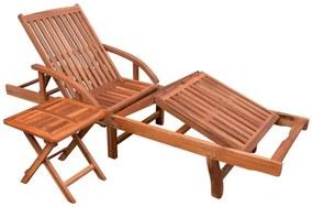 Set cu șezlong și masă, lemn masiv de acacia, maro