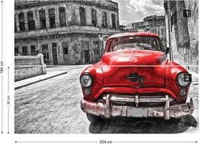 Fototapet GLIX - Vintage Car Cuba Havana Red + adeziv GRATUIT Tapet nețesute - 254x184 cm