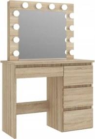 Masă de toaletă cu oglindă LED Cleopatra Brown