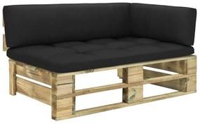 3066548 vidaXL Canapea de grădină din paleți, colțar, lemn pin tratat verde