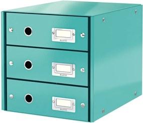 Cutie cu 3 compartimente Leitz Office, 36x29x28 cm, albastru-turcoaz