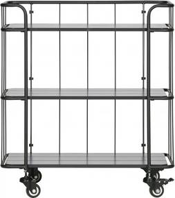 Carucior pentru servire din metal si lemn Caro, 84x75x42 cm, negru mat