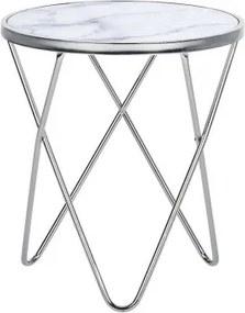 Masa laterala MERIDIAN II, sticla/metal, argintie/alba, 55 x 50 x 50 cm