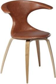 Scaun din piele cu picioare din lemn uşor DAN–FORM Flair, maro
