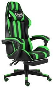 20529 vidaXL Scaun de racing suport picioare negru/verde piele ecologică