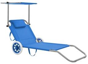 44322 vidaXL Șezlong de plajă pliabil cu baldachin și roți, albastru, oțel